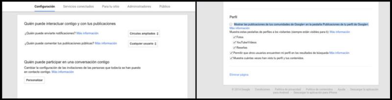 Google + Configuración pestañas