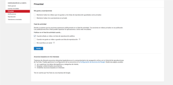 Privacidad canal youtube